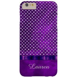 Royal Purple Silver Gem Personalized Barely There iPhone 6 Plus Case