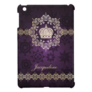 Royal Queen Princess Crown Damask Name Initials iPad Mini Covers