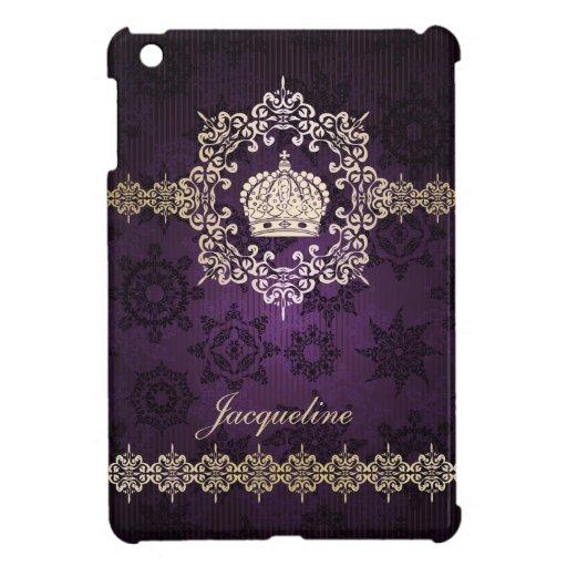 Royal Queen Princess Crown Damask Name Initials iPad Mini Covers