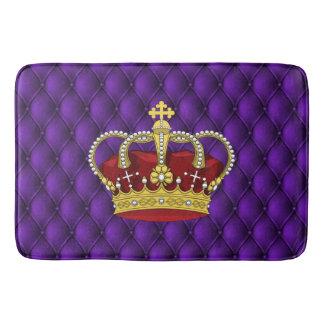 Royal Queen's Crown & Faux Purple Pintucks Bath Mat