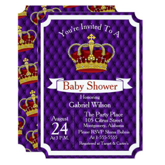 Royal Red Crown & Purple Regal Baby Shower Card
