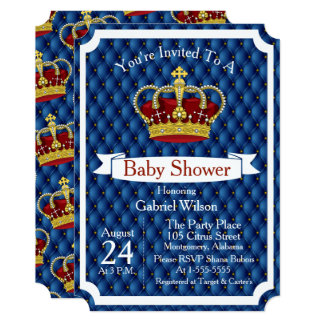 Royal Red Crown & Royal Blue Regal Baby Boy Shower Card