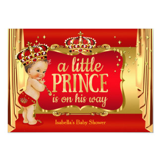 "Royal Red Gold Boy Prince Baby Shower Brunette 5"" X 7"" Invitation Card"