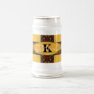 Royal Red & Gold Ornate Monogram 18 Oz Beer Stein