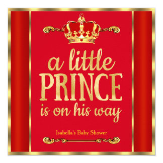 "Royal Red Gold Prince is on his way Baby Shower 5.25"" Square Invitation Card"