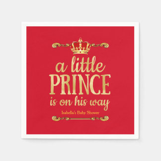 Royal Red Gold Prince On His Way Baby Shower Paper Napkins