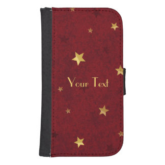 Royal Red Golden Stars Samsung S4 Wallet Case
