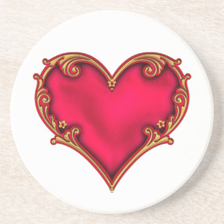 Royal Red Heart Coasters