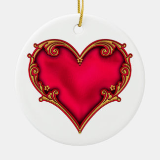 Royal Red Heart Round Ceramic Ornament