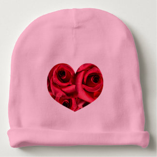 Royal Red Roses Regal Romance Crimson Lush Flowers Baby Beanie