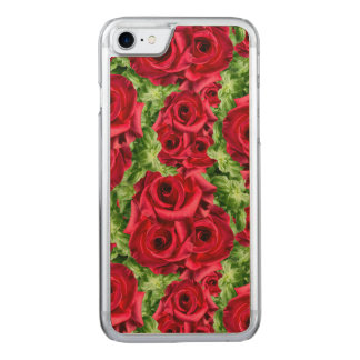 Royal Red Roses Regal Romance Crimson Lush Flowers Carved iPhone 8/7 Case
