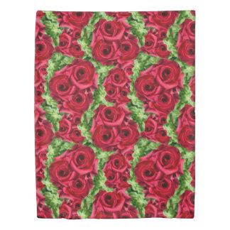 Royal Red Roses Regal Romance Crimson Lush Flowers Duvet Cover