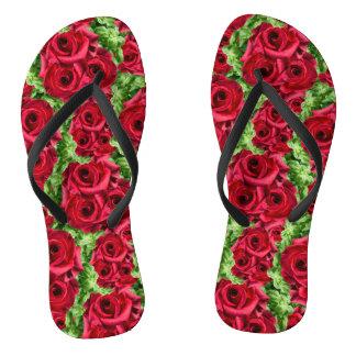 Royal Red Roses Regal Romance Crimson Lush Flowers Flip Flops