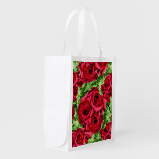 Royal Red Roses Regal Romance Crimson Lush Flowers Reusable Grocery Bag