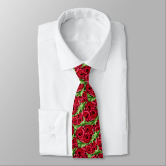 Royal Red Roses Regal Romance Crimson Lush Flowers Tie