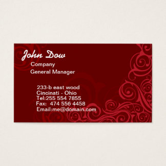 Royal Red swirls floral ORNAMENT Business Card