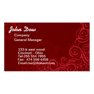 Royal Red swirls floral ORNAMENT Pack Of Standard Business Cards