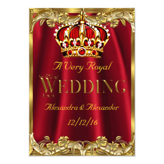 "Royal Red Wedding Gold Crown 5"" X 7"" Invitation Card"