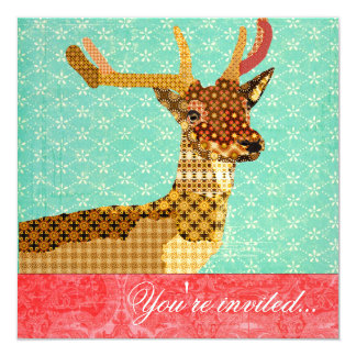 """Royal Reindeer Turquoise Red 5.25"""" Square Invitation Card"""
