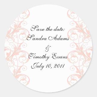 Royal Romance Peachy Pink & White Seals/Stickers Classic Round Sticker