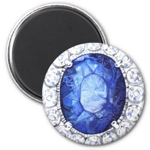 Royal Sapphire Original  Watercolor Fridge Magnet