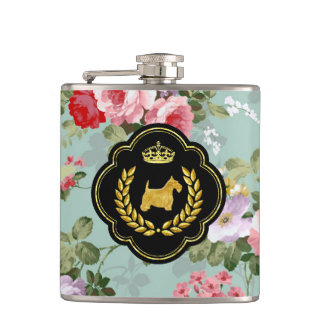 Royal Scottie Floral Pattern Hip Flask