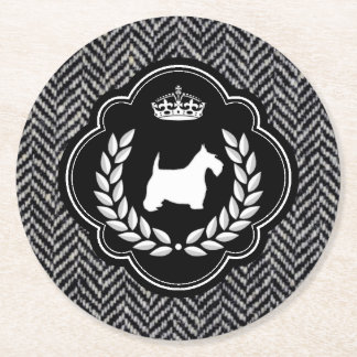 Royal Scottie Herringbone Round Paper Coaster