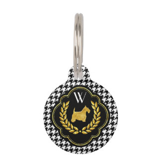 Royal Scottie Houndstooth Monogram Pet Name Tag