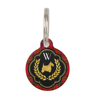 Royal Scottie Stewart Plaid Monogram Pet Name Tag