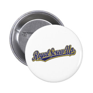 Royal Screw Up script logo in blue 2 Inch Round Button