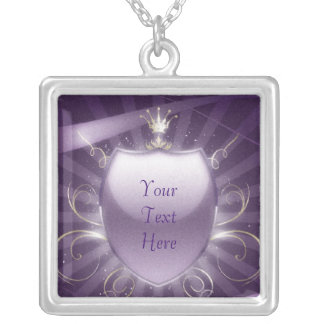 Royal Shield - Customizable Text Silver Plated Necklace