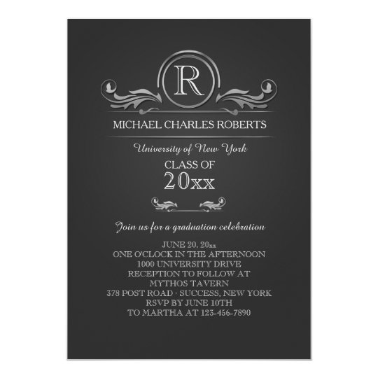 Royal Silver Monogram Graduation Invitation