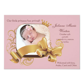 Royal Square Pink Photo Birth Announcement
