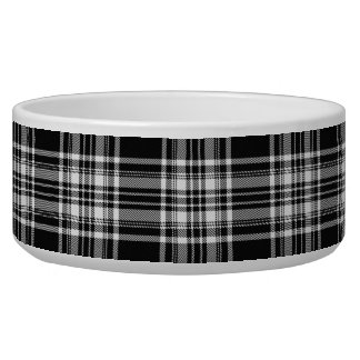 Royal Stewart Black And White Tartan Pet Water Bowl