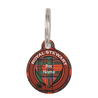 Royal Stewart clan Plaid Scottish tartan Pet Name Tag
