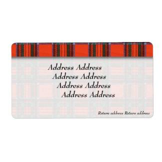 Royal Stewart clan Plaid Scottish tartan Shipping Label