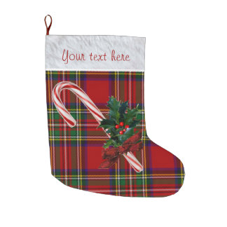 Royal Stewart Plaid Candy Cane & Holly Custom Large Christmas Stocking