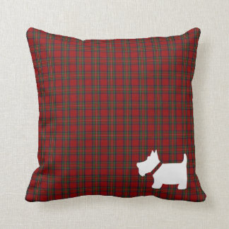 Royal Stewart Tartan Plaid Pillow with Scottie Dog