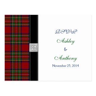 Royal Stewart Tartan Wedding Rsvp Reply Postcard