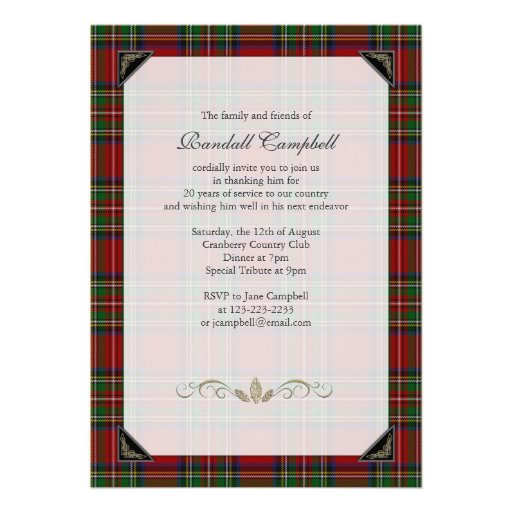 Royal Stuart Tartan Retirement Party Invitation