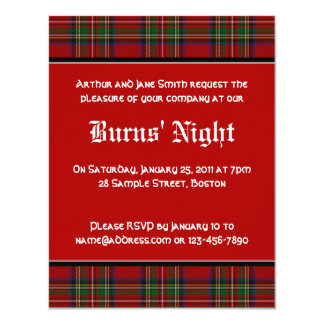 Royal Stuart Tartan Robbie Burns Night Invitation