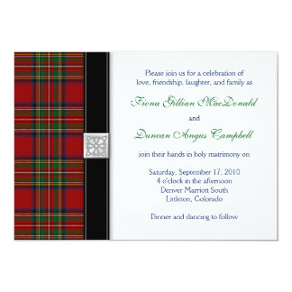 Royal Stuart Tartan Scottish Wedding Invitation