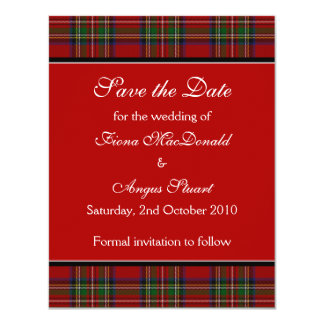 "Royal Stuart Tartan Wedding Save the Date Card 4.25"" X 5.5"" Invitation Card"