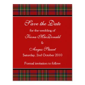 "Royal Stuart Tartan Wedding Save the Date Card 4.25"" X 5.5"" Invitation Card"