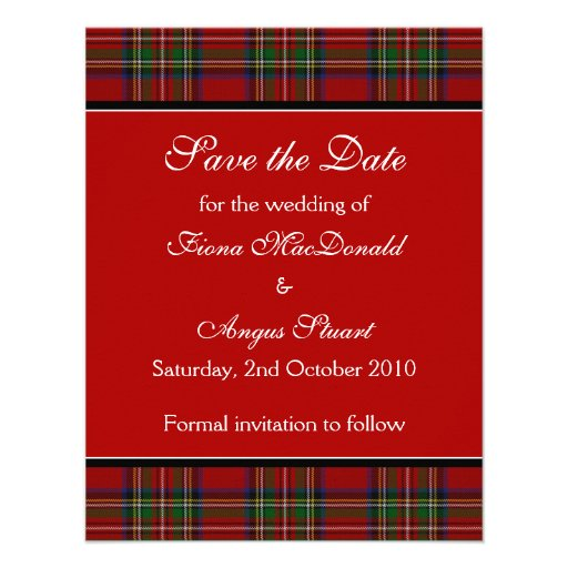 Royal Stuart Tartan Wedding Save the Date Card Invite
