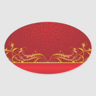 Royal Swirls of Gold On Red Oval Sticker