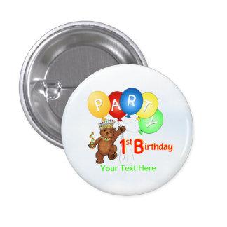 Royal Teddy Bear 1st Birthday Party 1 Inch Round Button