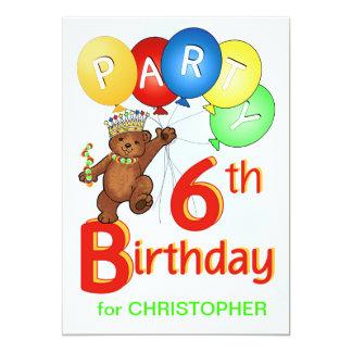 Royal Teddy Bear 6th Birthday Party Card