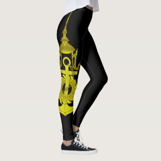 Royal Thai Navy Symbol On Black Leggings