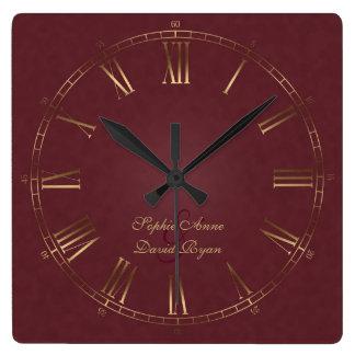 Royal Vintage Gold Burgundy Roman Numeral Monogram Square Wall Clock